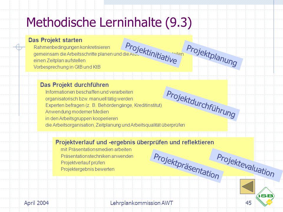 April 2004Lehrplankommission AWT45 Methodische Lerninhalte (9.3) Das Projekt starten  Rahmenbedingungen konkretisieren  gemeinsam die Arbeitsschritt
