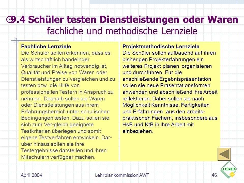 April 2004Lehrplankommission AWT46 Fachliche Lernziele Die Schüler sollen erkennen, dass es als wirtschaftlich handelnder Verbraucher im Alltag notwen