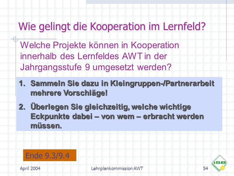 April 2004Lehrplankommission AWT54 Wie gelingt die Kooperation im Lernfeld? Welche Projekte können in Kooperation innerhalb des Lernfeldes AWT in der