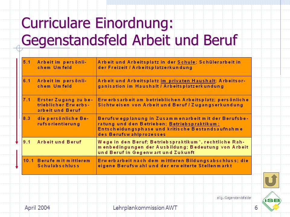 April 2004Lehrplankommission AWT6 Curriculare Einordnung: Gegenstandsfeld Arbeit und Beruf allg.:Gegenstandsfelder