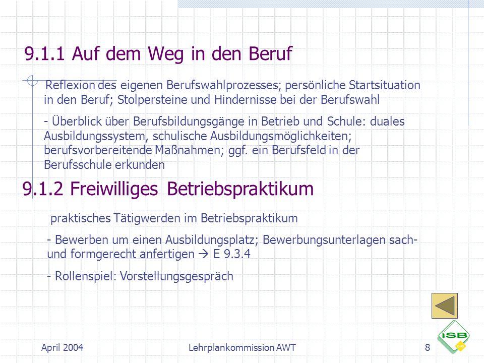 April 2004Lehrplankommission AWT8 9.1.1 Auf dem Weg in den Beruf  Reflexion des eigenen Berufswahlprozesses; persönliche Startsituation in den Beruf;
