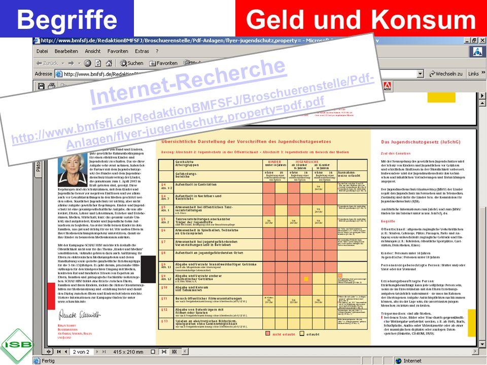 Geld und KonsumBegriffe Internet-Recherche http://www.bmfsfj.de/RedaktionBMFSFJ/Broschuerenstelle/Pdf- Anlagen/flyer-jugendschutz,property=pdf.pdf
