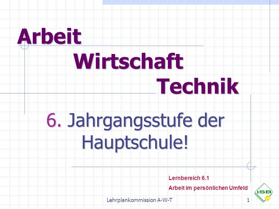 Lehrplankommission A-W-T1 Arbeit Wirtschaft Technik 6. Jahrgangsstufe der Hauptschule! Lernbereich 6.1 Arbeit im persönlichen Umfeld