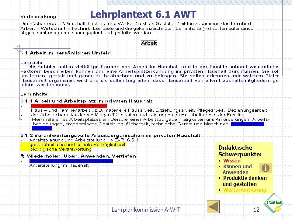 Lehrplankommission A-W-T12 Lehrplantext 6.1 AWT Didaktische Schwerpunkte: Wissen K ö nnen und Anwenden Produktiv denken und gestalten Wertorientierung