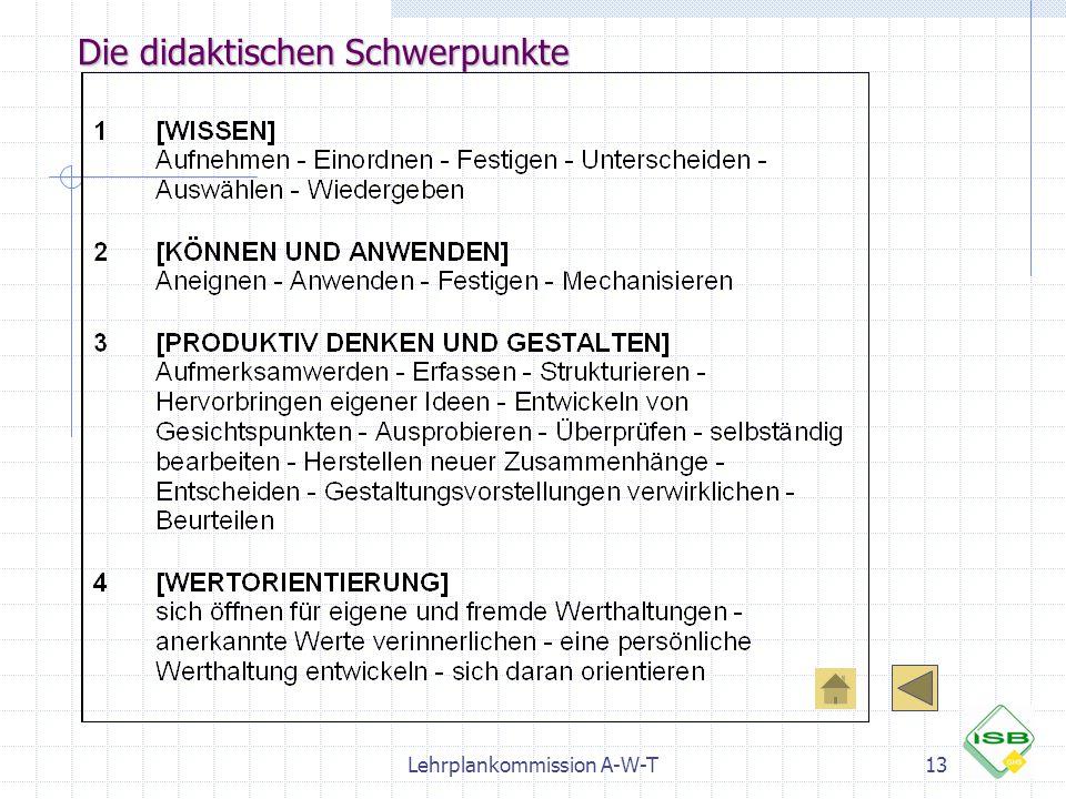 Lehrplankommission A-W-T13 Die didaktischen Schwerpunkte