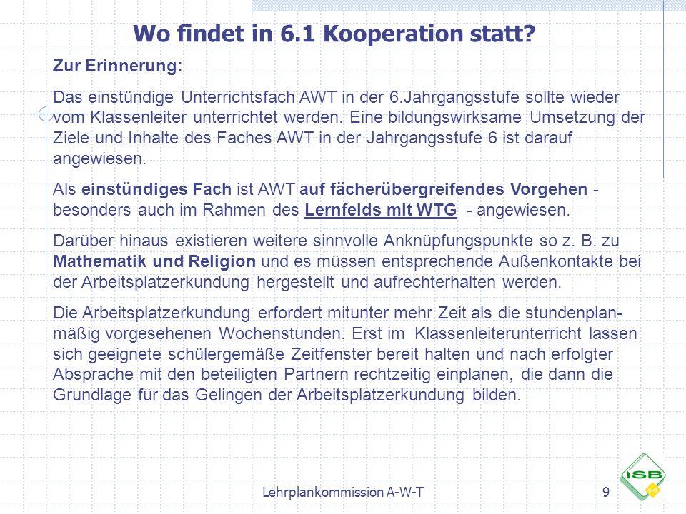 Lehrplankommission A-W-T9 Wo findet in 6.1 Kooperation statt? Zur Erinnerung: Das einstündige Unterrichtsfach AWT in der 6.Jahrgangsstufe sollte wiede