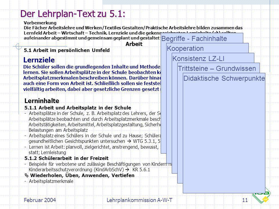 Februar 2004Lehrplankommission A-W-T11 Der Lehrplan-Text zu 5.1: Vorbemerkung Die Fächer Arbeitslehre und Werken/Textiles Gestalten/Praktische Arbeits