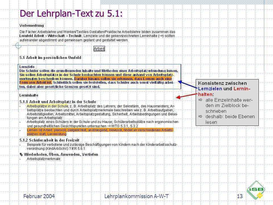 Februar 2004Lehrplankommission A-W-T13 Der Lehrplan-Text zu 5.1: