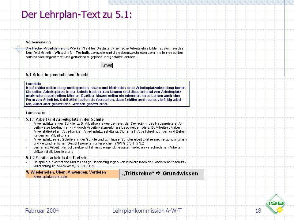 Februar 2004Lehrplankommission A-W-T18 Der Lehrplan-Text zu 5.1: