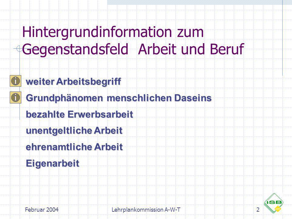 Februar 2004Lehrplankommission A-W-T2 Hintergrundinformation zum Gegenstandsfeld Arbeit und Beruf weiter Arbeitsbegriff Grundphänomen menschlichen Das