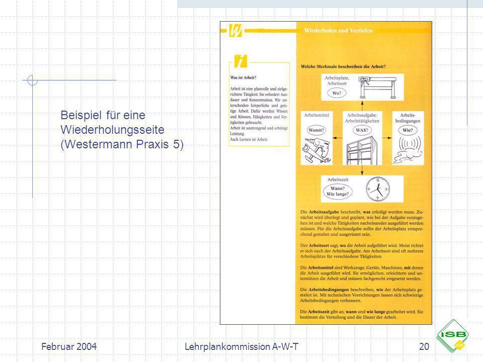 Februar 2004Lehrplankommission A-W-T20 Beispiel für eine Wiederholungsseite (Westermann Praxis 5)
