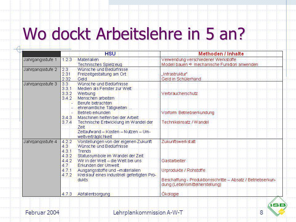 Februar 2004Lehrplankommission A-W-T8 Wo dockt Arbeitslehre in 5 an?
