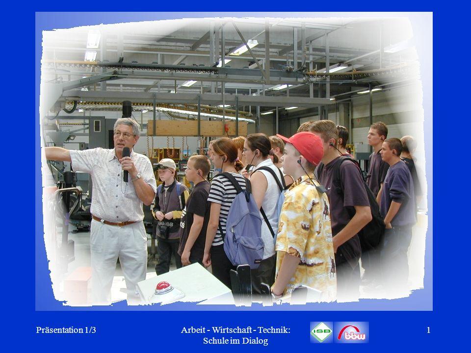 Präsentation 1/3Arbeit - Wirtschaft - Technik: Schule im Dialog 22 Ausbildung der AWT-Fachlehrplanmultiplikatoren 7-10 AWT 7-10 26.04.-30.04.20041 Lehrgang in Dillingen für insgesamt ca.