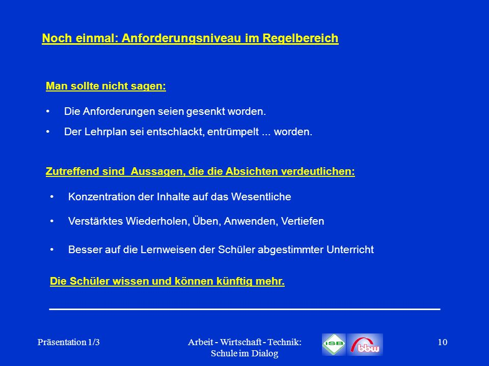 Präsentation 1/3Arbeit - Wirtschaft - Technik: Schule im Dialog 10 Noch einmal: Anforderungsniveau im Regelbereich Die Anforderungen seien gesenkt wor
