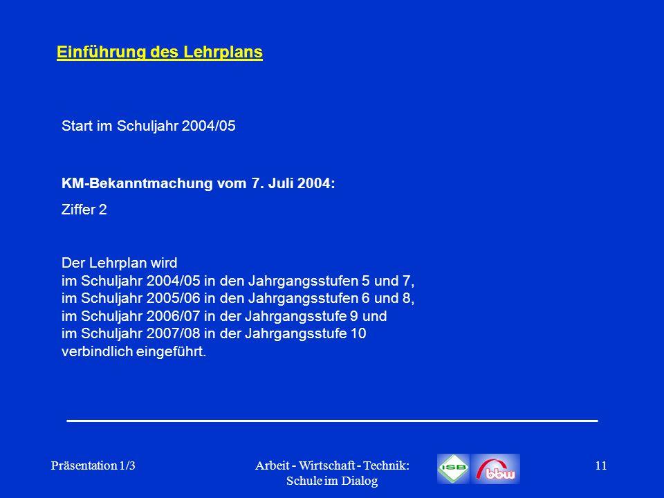 Präsentation 1/3Arbeit - Wirtschaft - Technik: Schule im Dialog 11 Einführung des Lehrplans Start im Schuljahr 2004/05 KM-Bekanntmachung vom 7. Juli 2