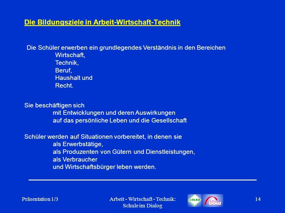 Präsentation 1/3Arbeit - Wirtschaft - Technik: Schule im Dialog 14 Die Bildungsziele in Arbeit-Wirtschaft-Technik Die Schüler erwerben ein grundlegend