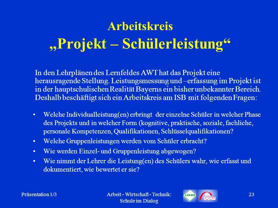 Präsentation 1/3Arbeit - Wirtschaft - Technik: Schule im Dialog 23 Arbeitskreis Projekt – Schülerleistung Welche Individualleistung(en) erbringt der e