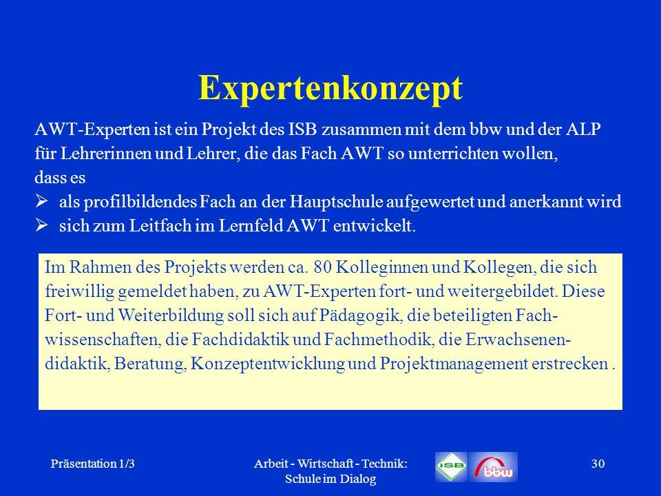 Präsentation 1/3Arbeit - Wirtschaft - Technik: Schule im Dialog 30 Expertenkonzept AWT-Experten ist ein Projekt des ISB zusammen mit dem bbw und der A