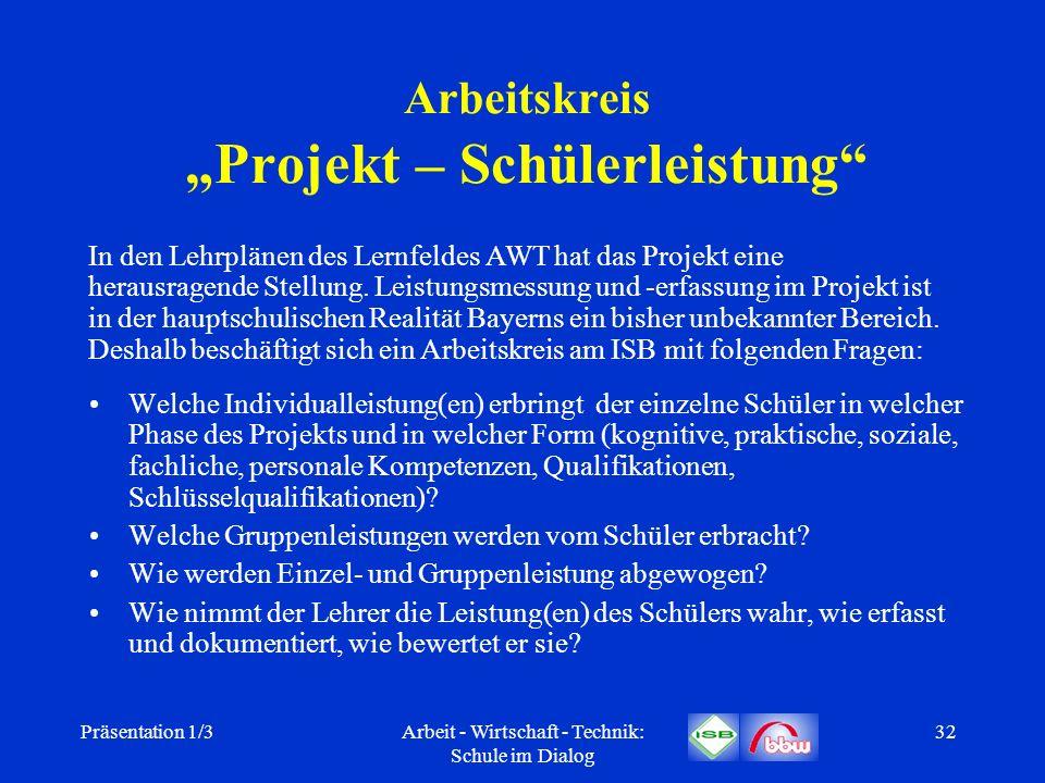 Präsentation 1/3Arbeit - Wirtschaft - Technik: Schule im Dialog 32 Arbeitskreis Projekt – Schülerleistung Welche Individualleistung(en) erbringt der e