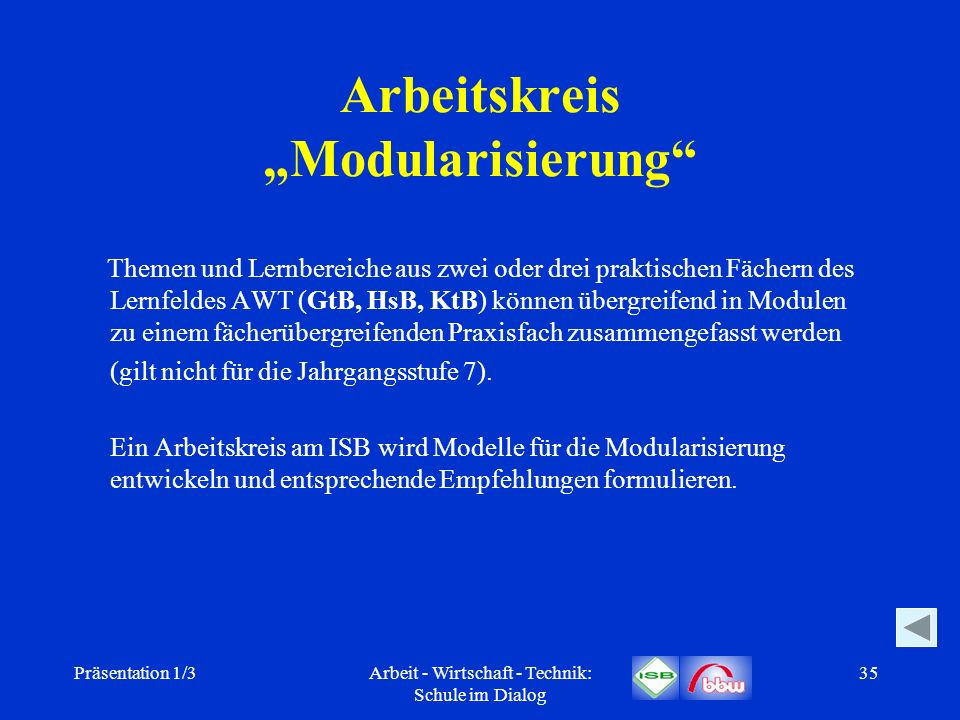 Präsentation 1/3Arbeit - Wirtschaft - Technik: Schule im Dialog 35 Arbeitskreis Modularisierung Themen und Lernbereiche aus zwei oder drei praktischen