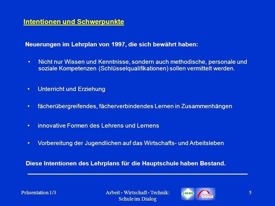 Präsentation 1/3Arbeit - Wirtschaft - Technik: Schule im Dialog 5 Intentionen und Schwerpunkte Nicht nur Wissen und Kenntnisse, sondern auch methodisc