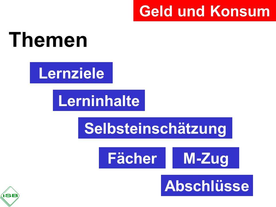 Geld und Konsum Themen Lernziele Lerninhalte Selbsteinschätzung FächerM-Zug Abschlüsse
