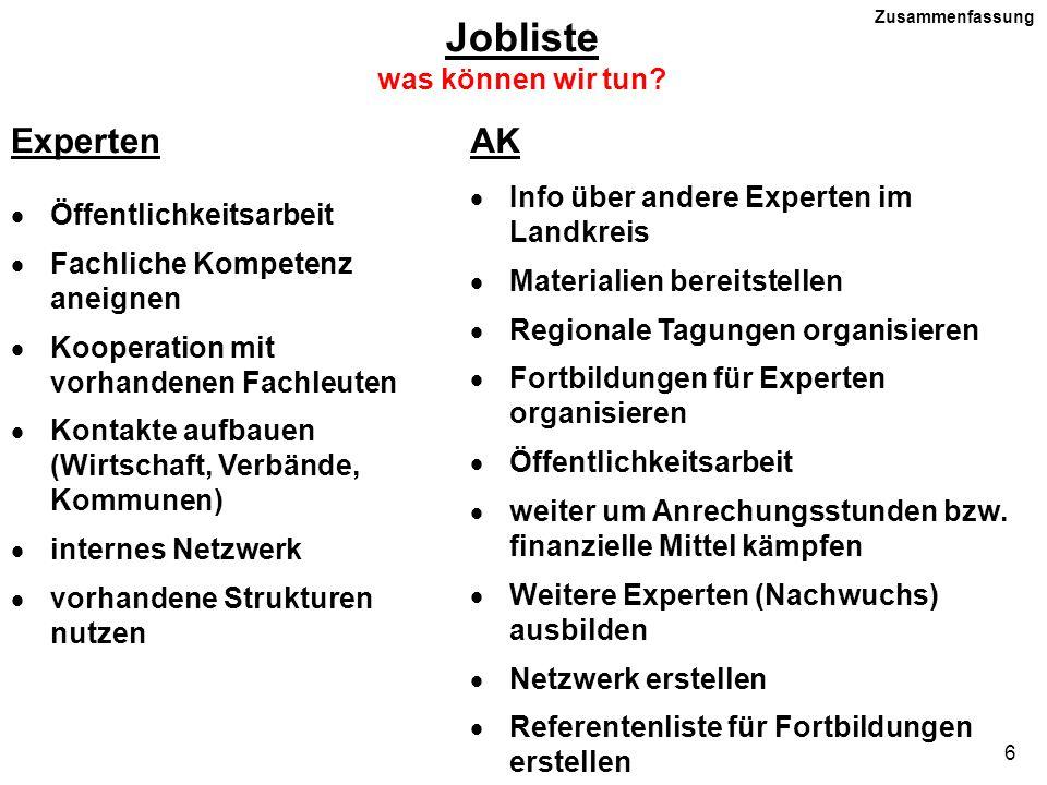 6 Jobliste was können wir tun? ExpertenAK Öffentlichkeitsarbeit Fachliche Kompetenz aneignen Kooperation mit vorhandenen Fachleuten Kontakte aufbauen
