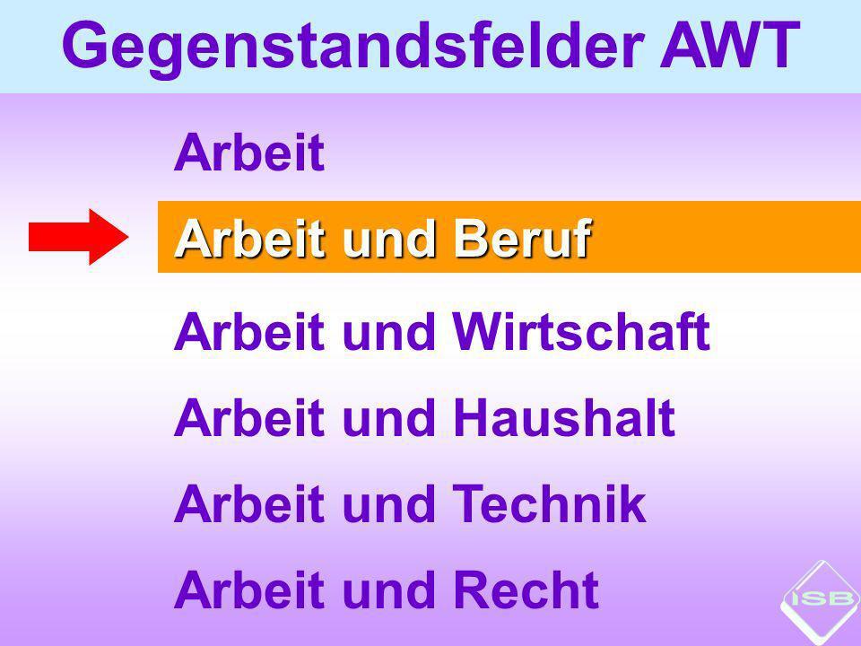 Gegenstandsfelder AWT Arbeit und Beruf Arbeit und Wirtschaft Arbeit und Haushalt Arbeit und Technik Arbeit und Recht