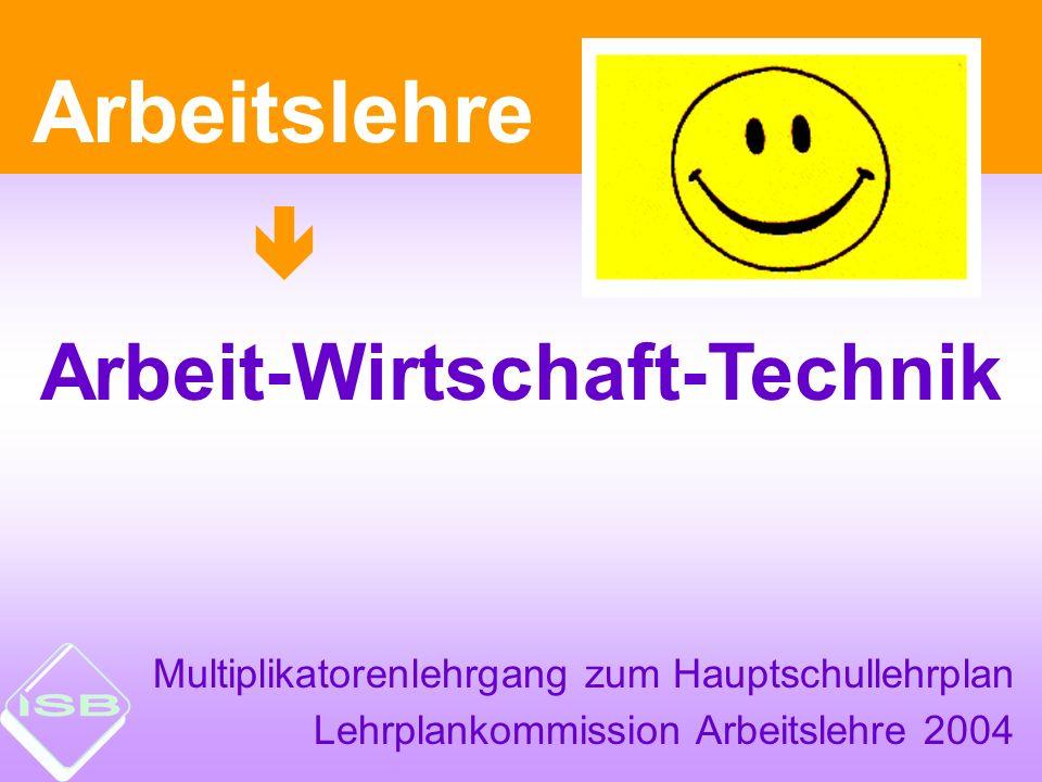 Multiplikatorenlehrgang zum Hauptschullehrplan Lehrplankommission Arbeitslehre 2004 Arbeitslehre Arbeit-Wirtschaft-Technik