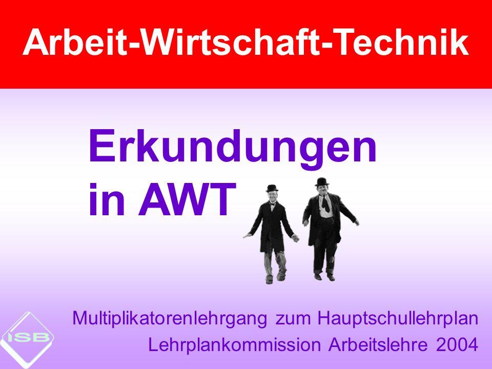 Erkundungen in AWT Arbeit-Wirtschaft-Technik Multiplikatorenlehrgang zum Hauptschullehrplan Lehrplankommission Arbeitslehre 2004