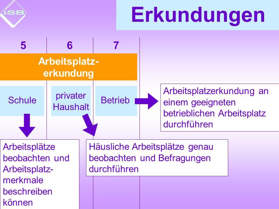 Betrieb Arbeitsplatz- erkundung Erkundungen Schule privater Haushalt Arbeitsplätze beobachten und Arbeitsplatz- merkmale beschreiben können Häusliche