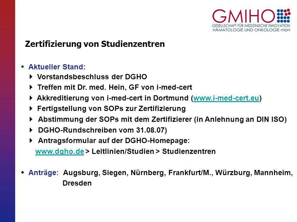 Aktueller Stand: Vorstandsbeschluss der DGHO Treffen mit Dr. med. Hein, GF von i-med-cert Akkreditierung von i-med-cert in Dortmund (www.i-med-cert.eu