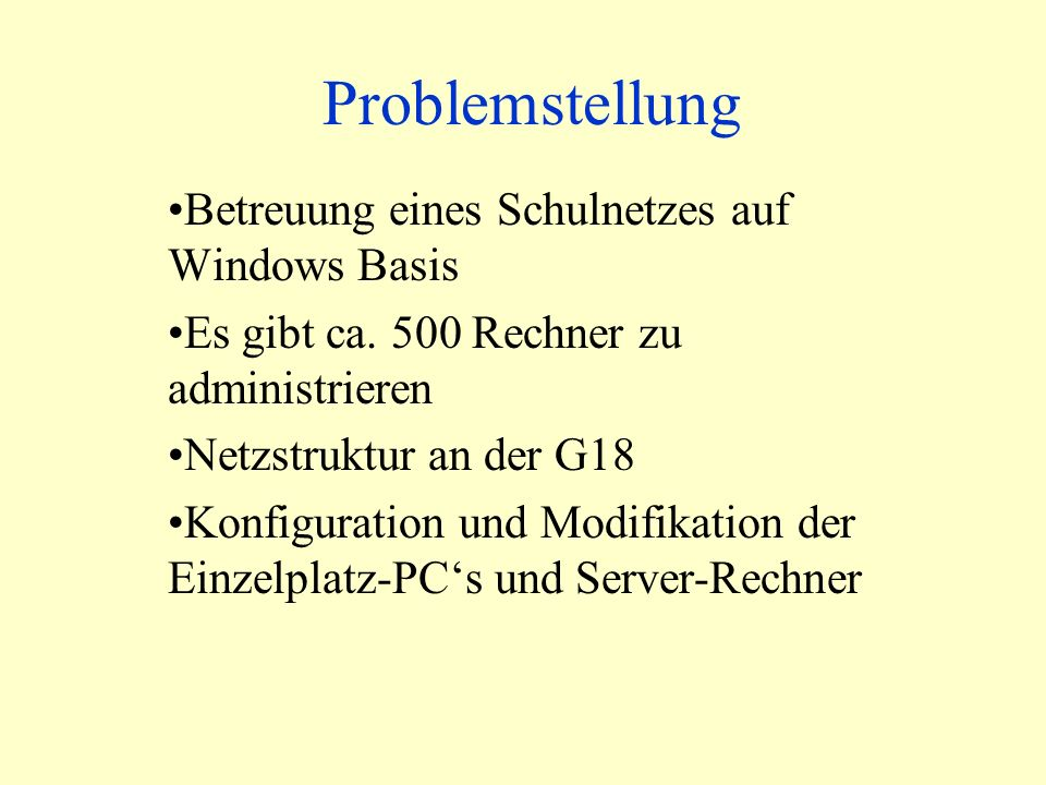 Beispielscript Homelaufwerk erstellen If Not Ordner.FolderExists(Benutzerverzeichnis) Then Ordner.CreateFolder(Benutzerverzeichnis) Set wshShell =WScript.CreateObject( WScript.Shell ) wshShell.Run cacls &Benutzerverzeichnis& /t /e /p Administratoren:F System:F G_Lehrer:C &Benutzer& :C , 0,True Err.Clear