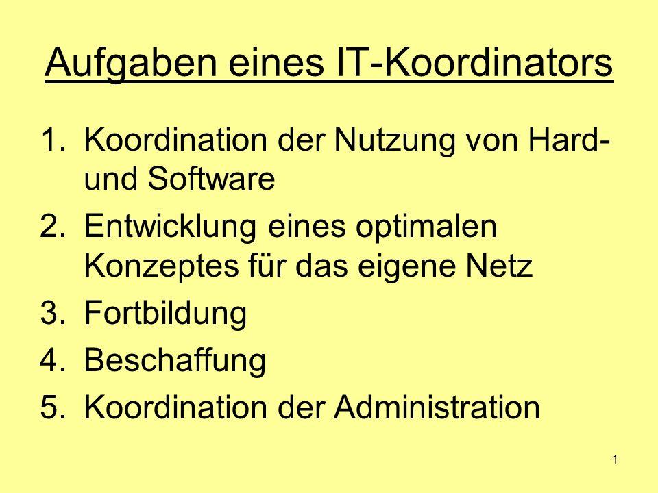 1 Aufgaben eines IT-Koordinators 1.Koordination der Nutzung von Hard- und Software 2.Entwicklung eines optimalen Konzeptes für das eigene Netz 3.Fortb