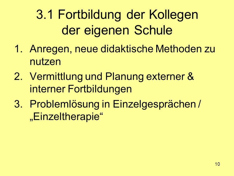 10 3.1 Fortbildung der Kollegen der eigenen Schule 1.Anregen, neue didaktische Methoden zu nutzen 2.Vermittlung und Planung externer & interner Fortbi