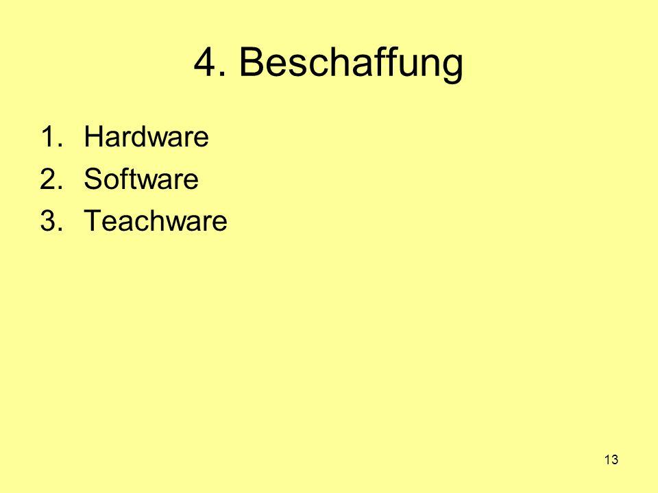 13 4. Beschaffung 1.Hardware 2.Software 3.Teachware