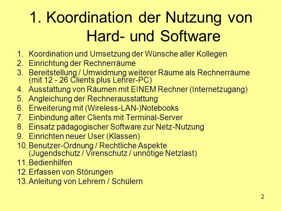 2 1. Koordination der Nutzung von Hard- und Software 1.Koordination und Umsetzung der Wünsche aller Kollegen 2.Einrichtung der Rechnerräume 3.Bereitst