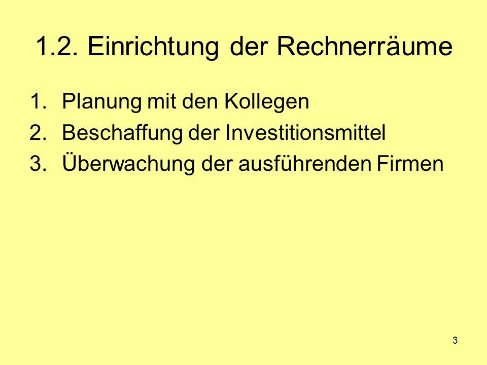 3 1.2. Einrichtung der Rechnerräume 1.Planung mit den Kollegen 2.Beschaffung der Investitionsmittel 3.Überwachung der ausführenden Firmen