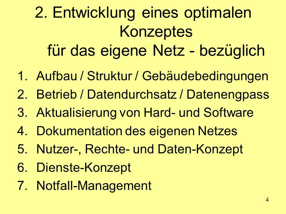 4 2. Entwicklung eines optimalen Konzeptes für das eigene Netz - bezüglich 1.Aufbau / Struktur / Gebäudebedingungen 2.Betrieb / Datendurchsatz / Daten