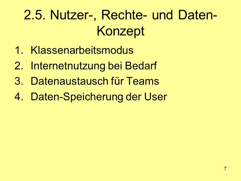 7 2.5. Nutzer-, Rechte- und Daten- Konzept 1.Klassenarbeitsmodus 2.Internetnutzung bei Bedarf 3.Datenaustausch für Teams 4.Daten-Speicherung der User