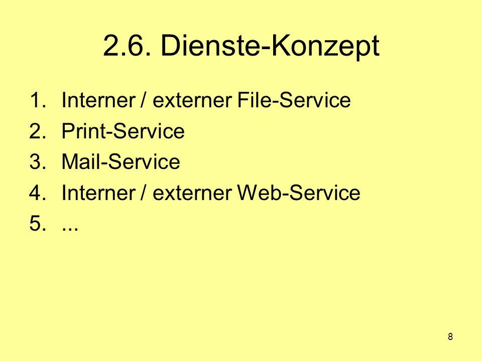 8 2.6. Dienste-Konzept 1.Interner / externer File-Service 2.Print-Service 3.Mail-Service 4.Interner / externer Web-Service 5....