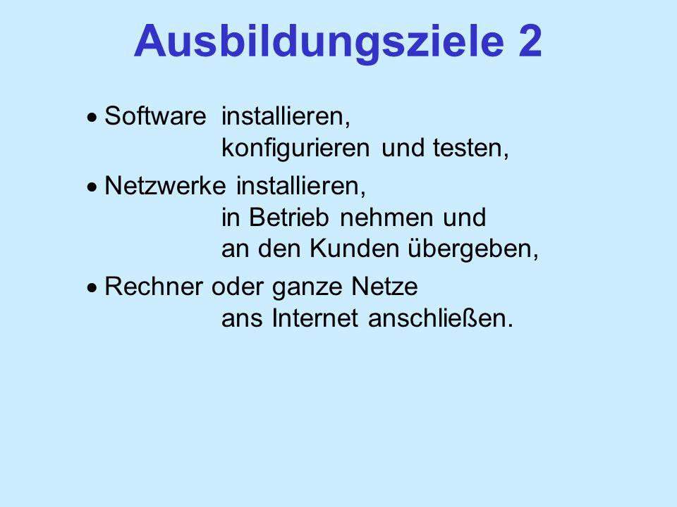 Ausbildungsziele 2 Software installieren, konfigurieren und testen, Netzwerke installieren, in Betrieb nehmen und an den Kunden übergeben, Rechner oder ganze Netze ans Internet anschließen.