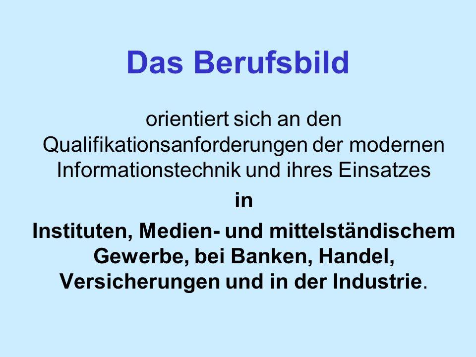 Das Berufsbild orientiert sich an den Qualifikationsanforderungen der modernen Informationstechnik und ihres Einsatzes in Instituten, Medien- und mittelständischem Gewerbe, bei Banken, Handel, Versicherungen und in der Industrie.