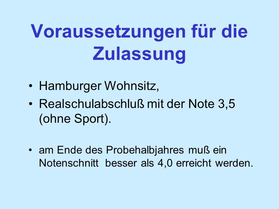 Voraussetzungen für die Zulassung Hamburger Wohnsitz, Realschulabschluß mit der Note 3,5 (ohne Sport).