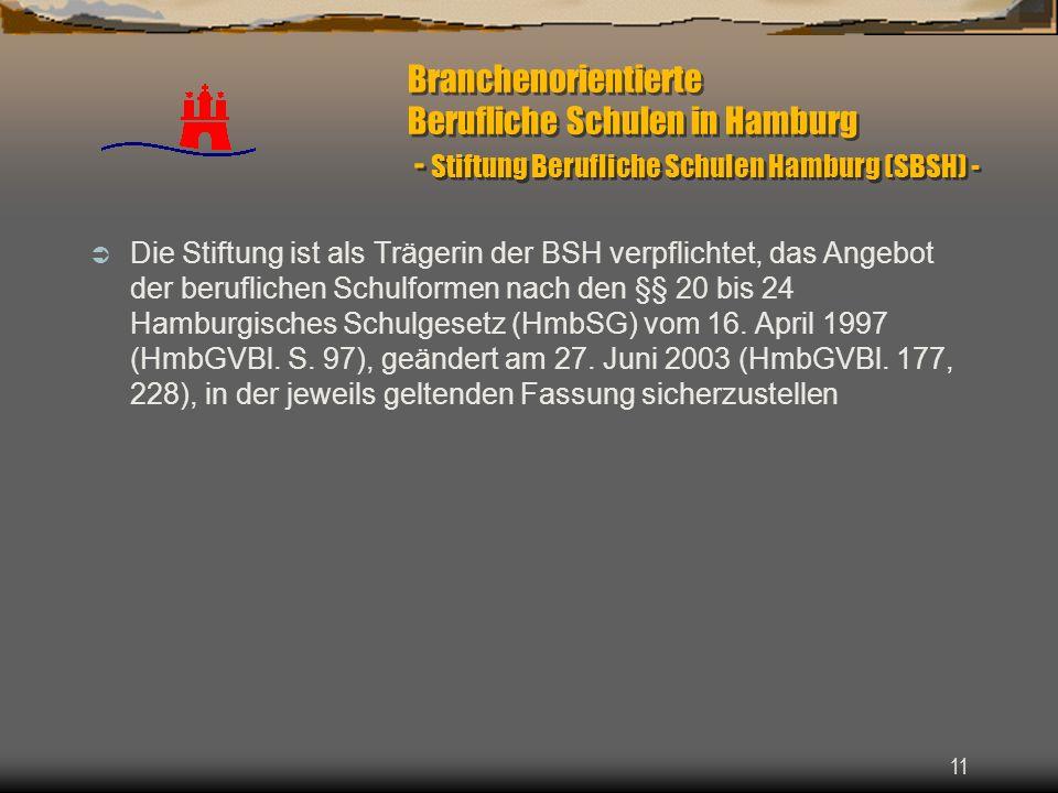 11 Branchenorientierte Berufliche Schulen in Hamburg - Stiftung Berufliche Schulen Hamburg (SBSH) - Die Stiftung ist als Trägerin der BSH verpflichtet