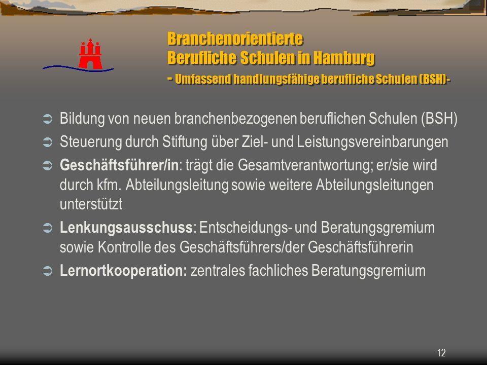 12 Branchenorientierte Berufliche Schulen in Hamburg - Umfassend handlungsfähige berufliche Schulen (BSH)- Bildung von neuen branchenbezogenen berufli