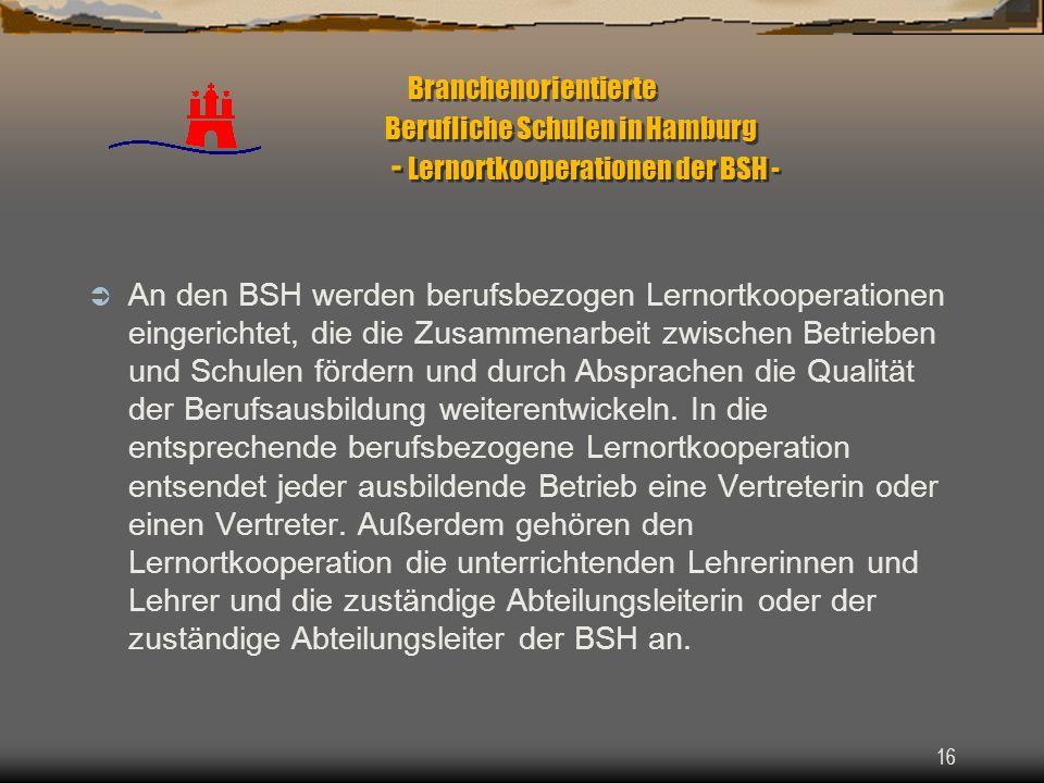 16 Branchenorientierte Berufliche Schulen in Hamburg - Lernortkooperationen der BSH - An den BSH werden berufsbezogen Lernortkooperationen eingerichte