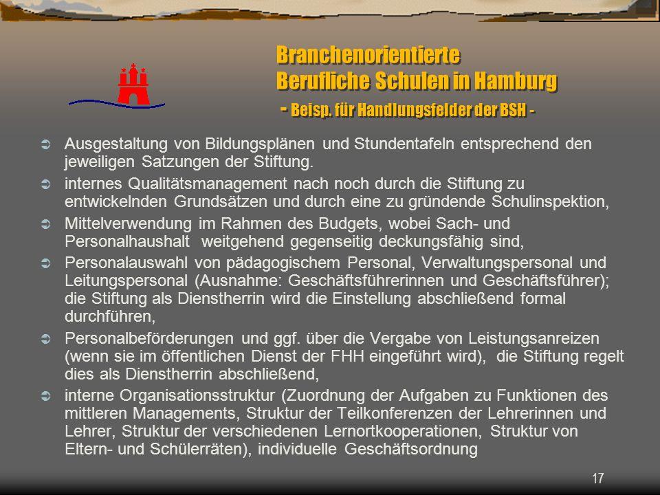 17 Branchenorientierte Berufliche Schulen in Hamburg - Beisp. für Handlungsfelder der BSH - Ausgestaltung von Bildungsplänen und Stundentafeln entspre