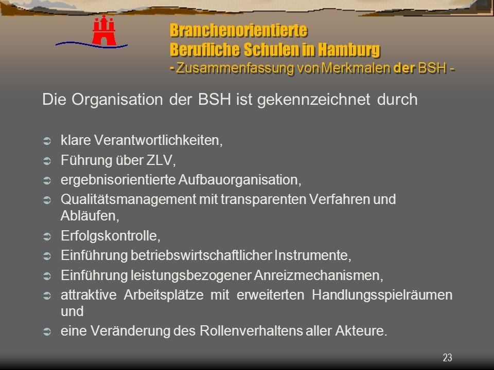 23 Branchenorientierte Berufliche Schulen in Hamburg - Zusammenfassung von Merkmalen der BSH - Die Organisation der BSH ist gekennzeichnet durch klare