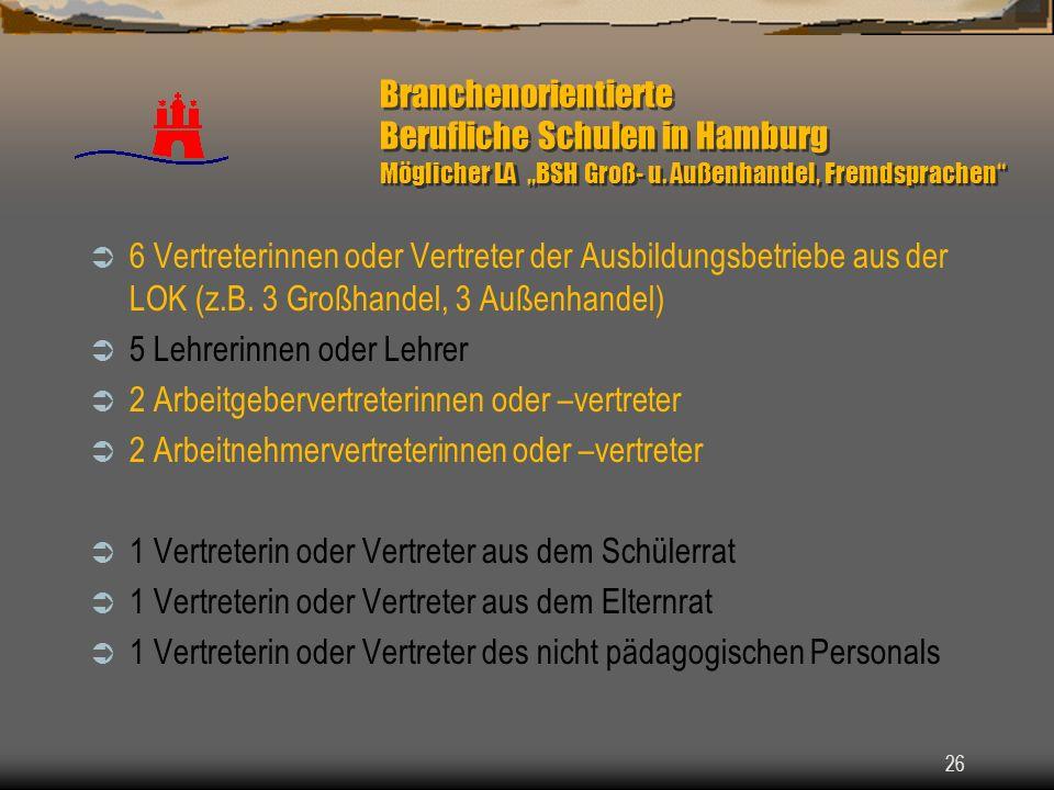 26 Branchenorientierte Berufliche Schulen in Hamburg Möglicher LA BSH Groß- u. Außenhandel, Fremdsprachen 6 Vertreterinnen oder Vertreter der Ausbildu